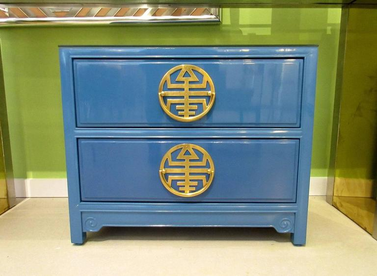 Pair of  Vintage Blue Lacquered Bedside Tables 2