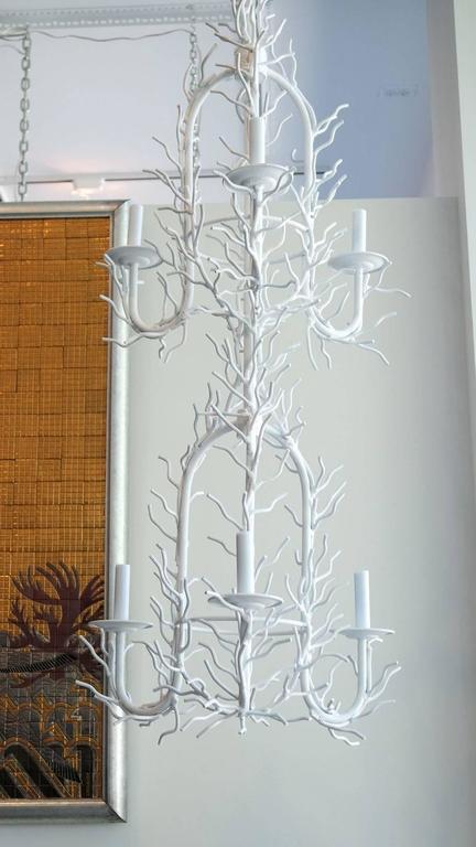 Vintage White Faux Coral Chandelier 6