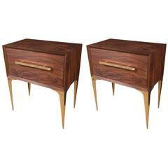 Pair of MCM Palisander and Brass Side Tables with Glass Tops