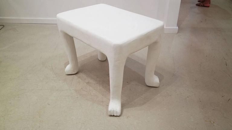 Authentic white plaster John Disckinson side table. The table has been vetted by the Estate of John Dickinson.