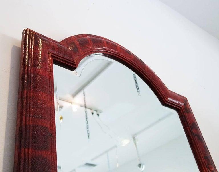 Vintage Red Python Mirror Signed by Karl Springer 2