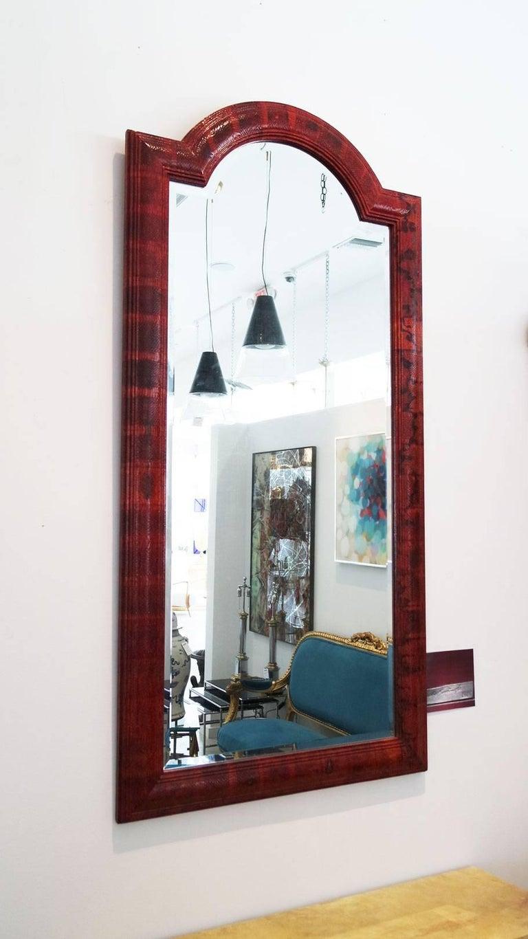 Vintage Red Python Mirror Signed by Karl Springer 3