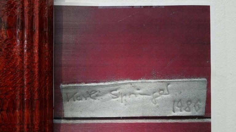 Vintage Red Python Mirror Signed by Karl Springer 4