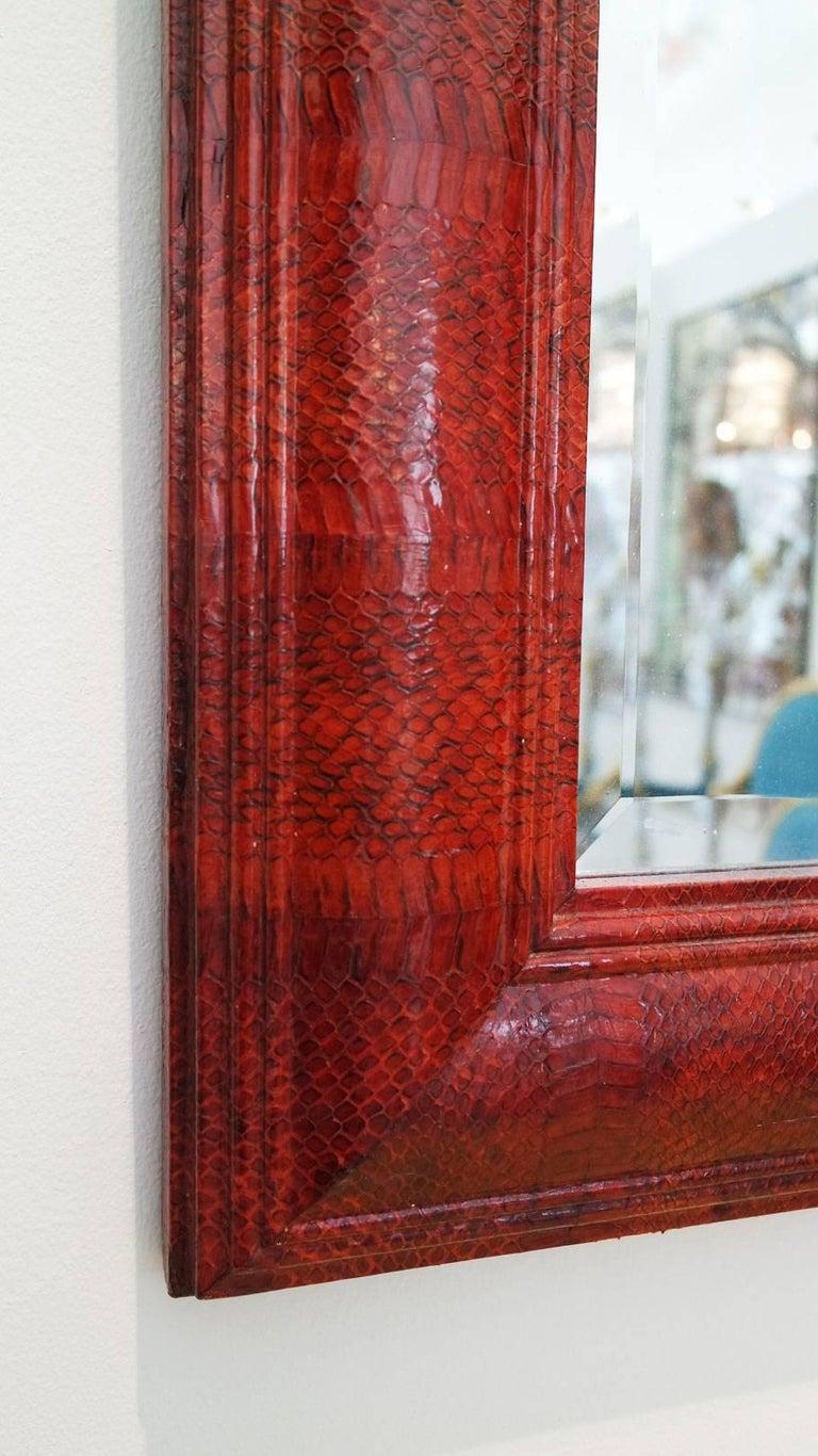 Vintage Red Python Mirror Signed by Karl Springer 5