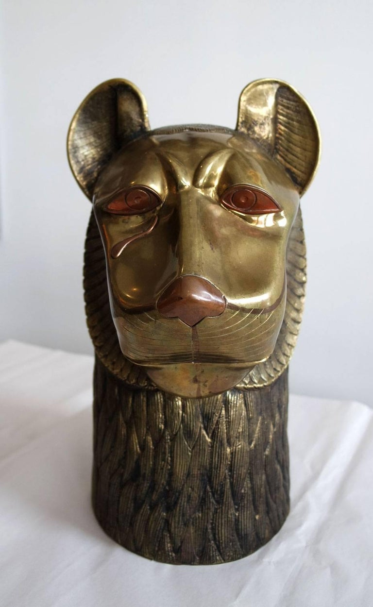 Vintage Brass Lion Head Sculpture in the Style of Chapman 2