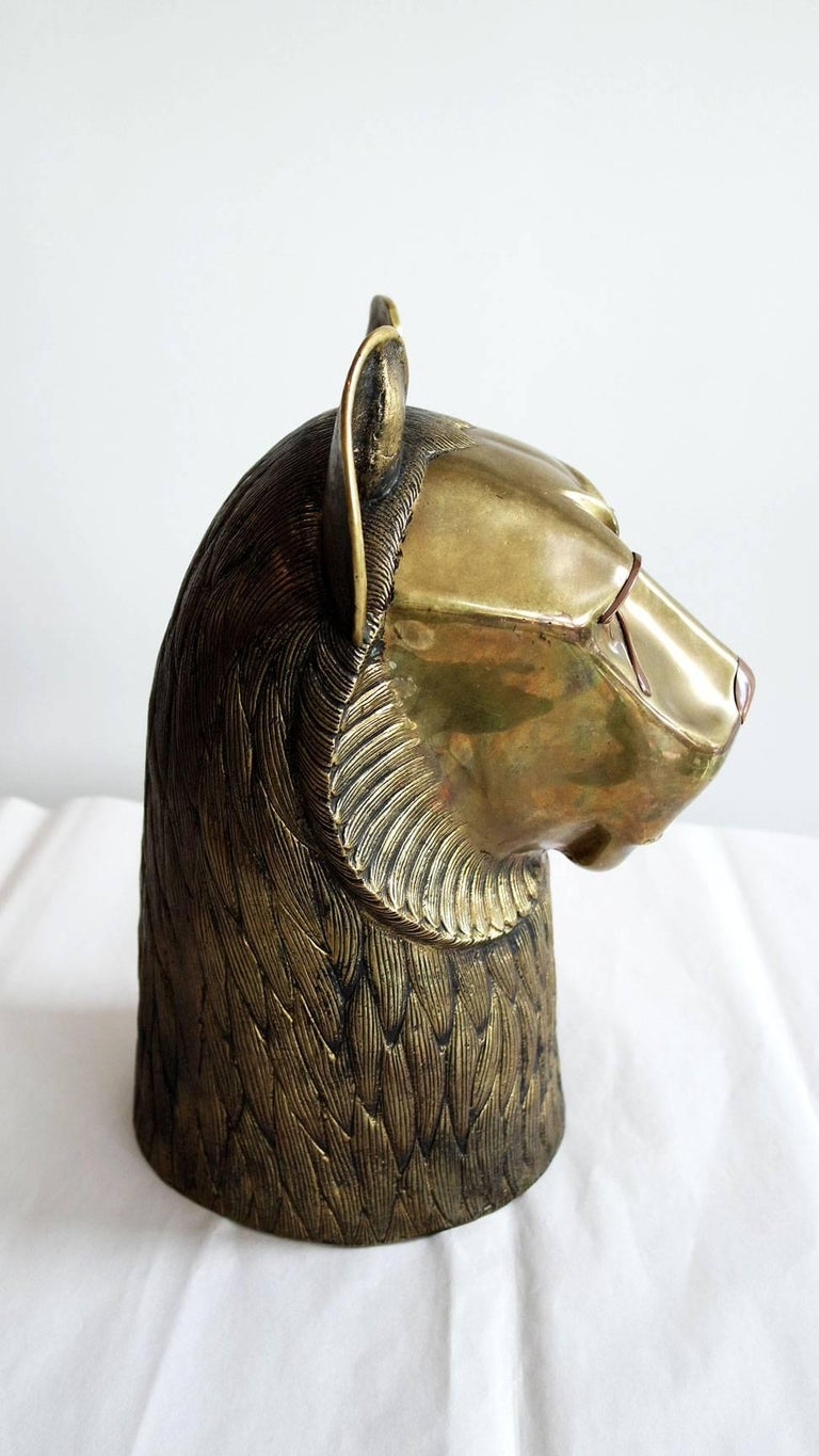 Vintage Brass Lion Head Sculpture in the Style of Chapman 3