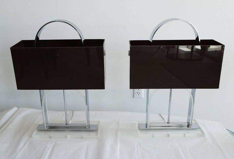 Pair of Mid-Century Modern Lucite and Nickel Lamps with Dark Brown Shades 2