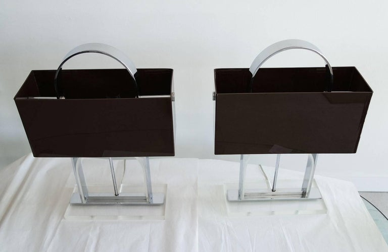 Pair of Mid-Century Modern Lucite and Nickel Lamps with Dark Brown Shades 3