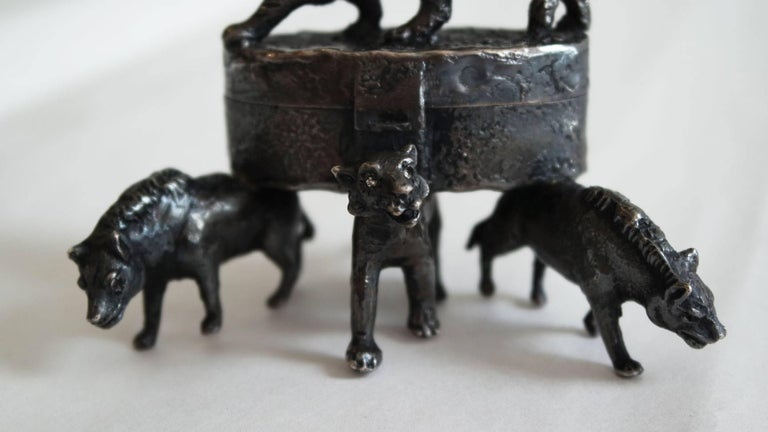 Silver Artist Made Box with Lions and Tigers 7