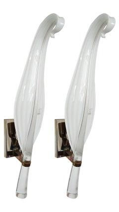 Pair of Vintage Murano Glass Leaf Sconces- Vetri