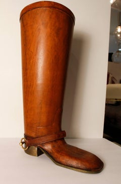 Large Leather and Brass Equestrian Boot, Style of Gucci