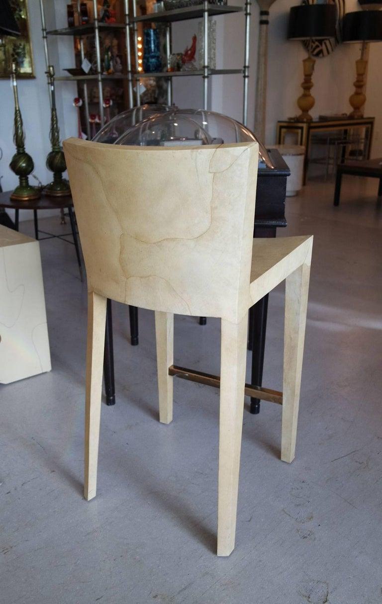 "Mid-Century Modern Vintage Karl Springer Goatskin ""JMF"" Bar Stools For Sale"