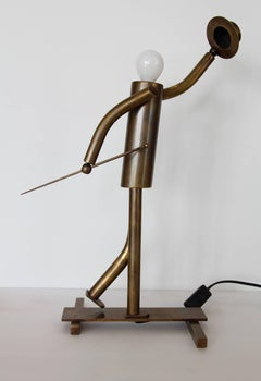 Austrian Art Deco Walking Man with Top Hat Lamp