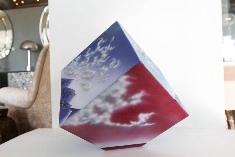 Ceramic Cube Sculpture with Atmospheric Images 3