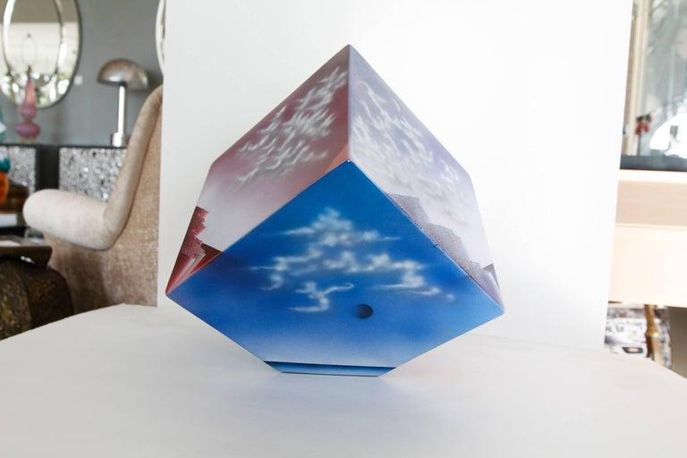 Ceramic Cube Sculpture with Atmospheric Images 2