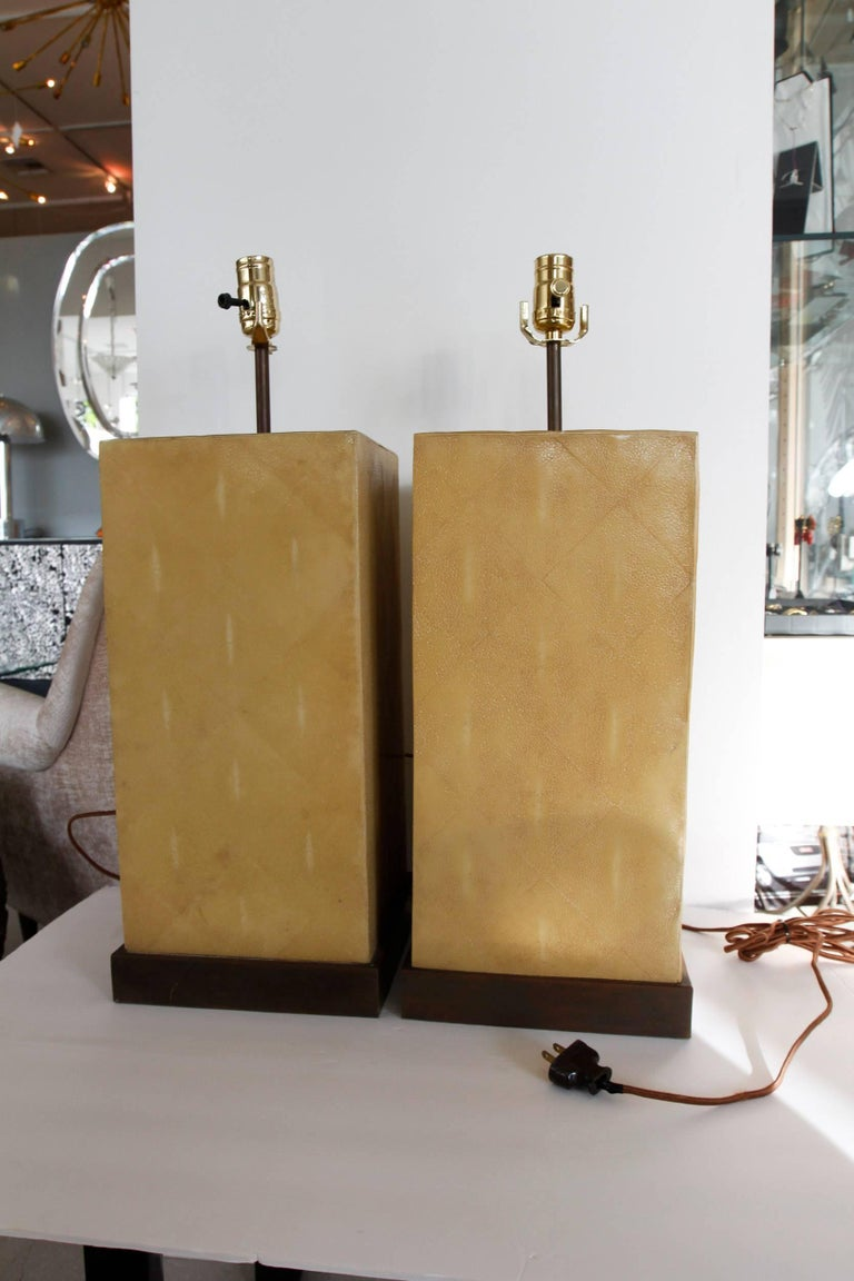 Pair of Stingray Lamps-- Shagreen 2