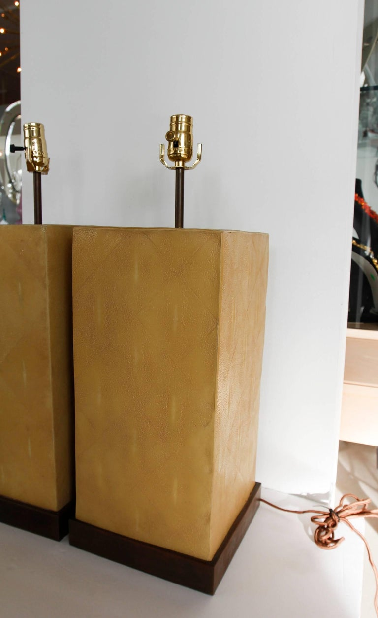 Pair of Stingray Lamps-- Shagreen 8