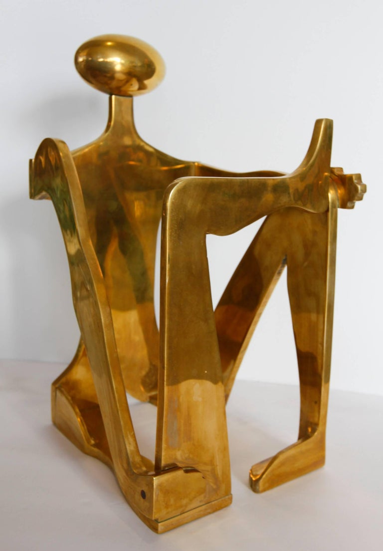 Geometric modernist figurative sculpture by sisters Arleen Eichengreen and Nancy Gensburg. The figure is attractive from all angles and demonstrates very interesting use of positive and negative space. It is signed and numbered 11 of 12.