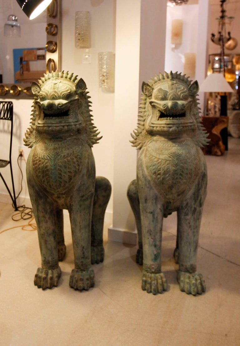 Pair of Monumental Asian Bronze Foo Dogs 2