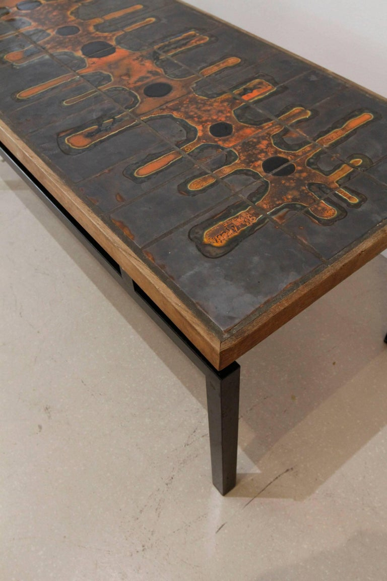 Mid-Century Modern French Ceramic Top Coffee Table after Roger Capron 3