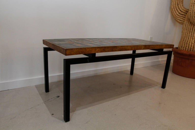 Mid-Century Modern French Ceramic Top Coffee Table after Roger Capron 9