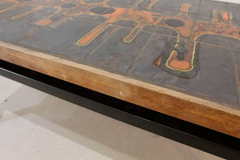 Mid-Century Modern French Ceramic Top Coffee Table after Roger Capron 5