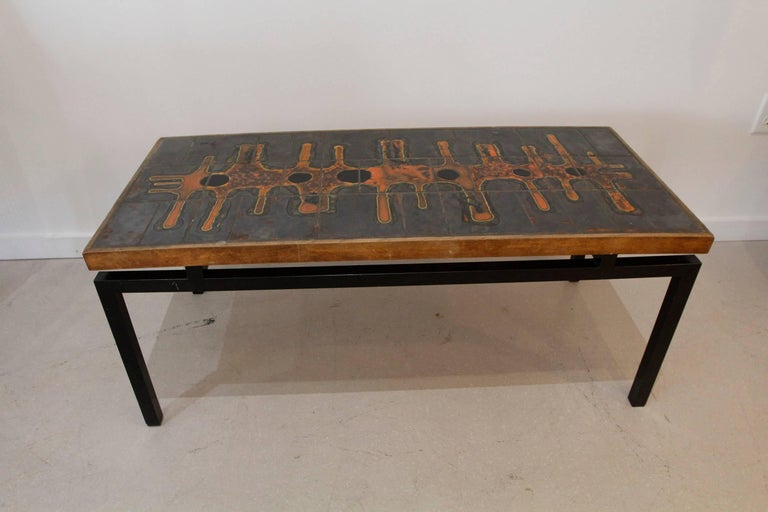 Mid-Century Modern French Ceramic Top Coffee Table after Roger Capron 6