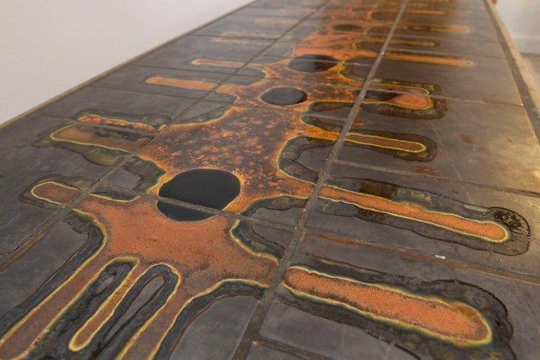 Mid-Century Modern French Ceramic Top Coffee Table after Roger Capron 2