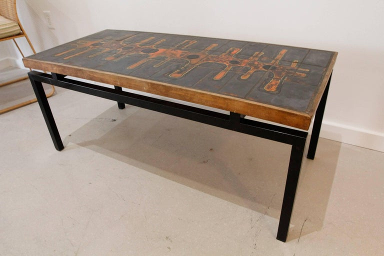 Mid-Century Modern French Ceramic Top Coffee Table after Roger Capron 4