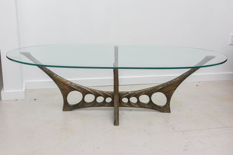 French Brutalist Coffee Table with Glass Top by Willy Ceyssens 2