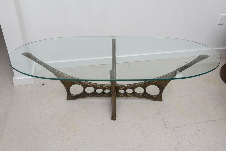 French Brutalist Coffee Table with Glass Top by Willy Ceyssens 6