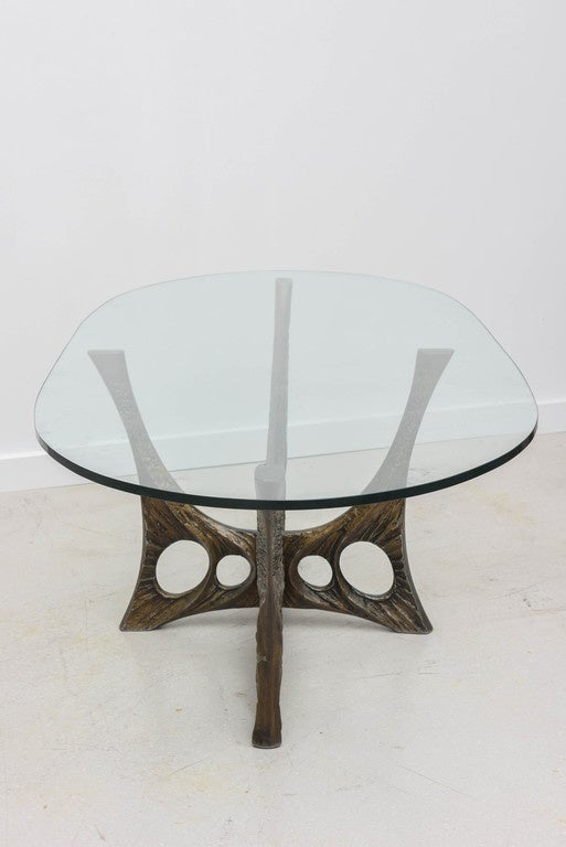 French Brutalist Coffee Table with Glass Top by Willy Ceyssens 7