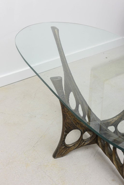 French Brutalist Coffee Table with Glass Top by Willy Ceyssens 8