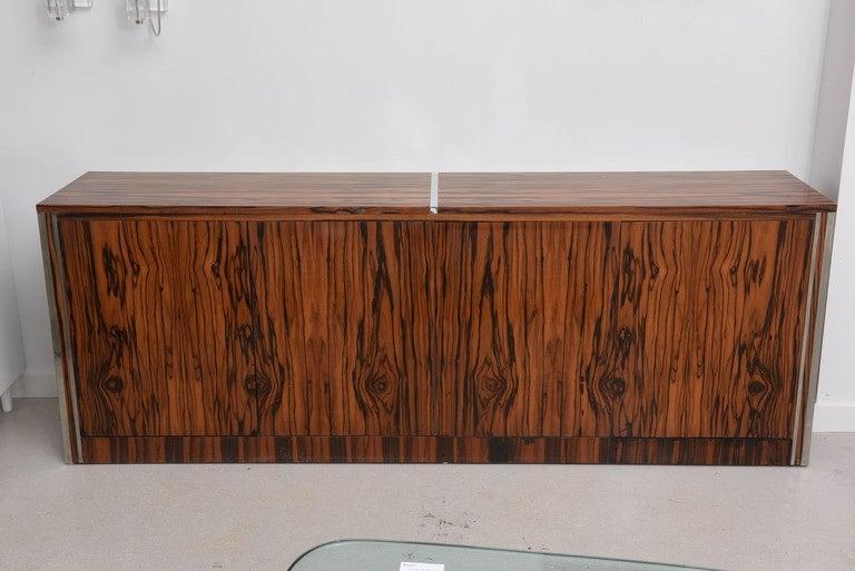 Vintage Mid Century Modern Zebrawood Cabinet Credenza For Sale At 1stdibs