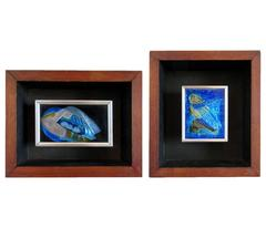 "Two ""Space"" Themed Enamel on Copper Pieces by John Puskas"