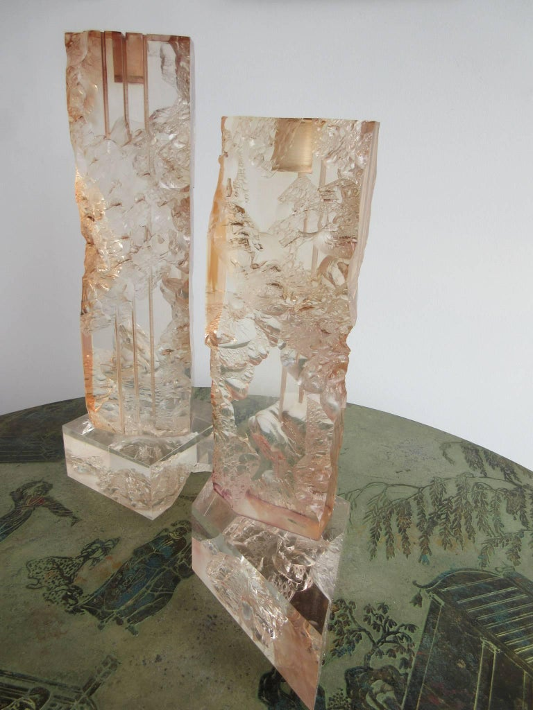 Pair of Fractal Resin Candlesticks, 1970s 2
