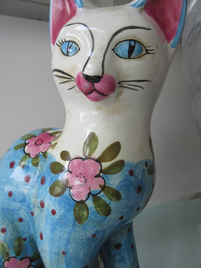 Vintage Italian Ceramic Cat Larger Fornasetti Style Pink Blue White For Sale At 1stdibs