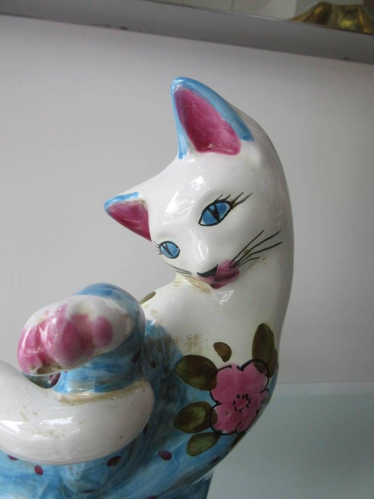 Vintage Italian Ceramic Cat 'Smaller' Handmade in Italy, Fornasetti Style 2