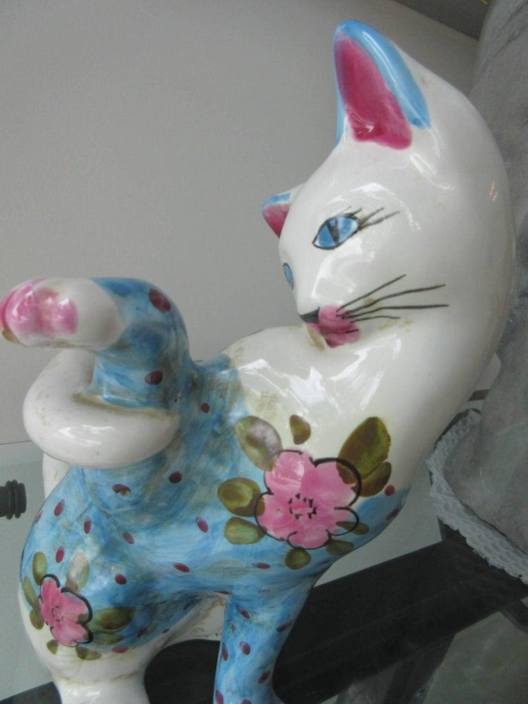 Vintage Italian Ceramic Cat 'Smaller' Handmade in Italy, Fornasetti Style 5