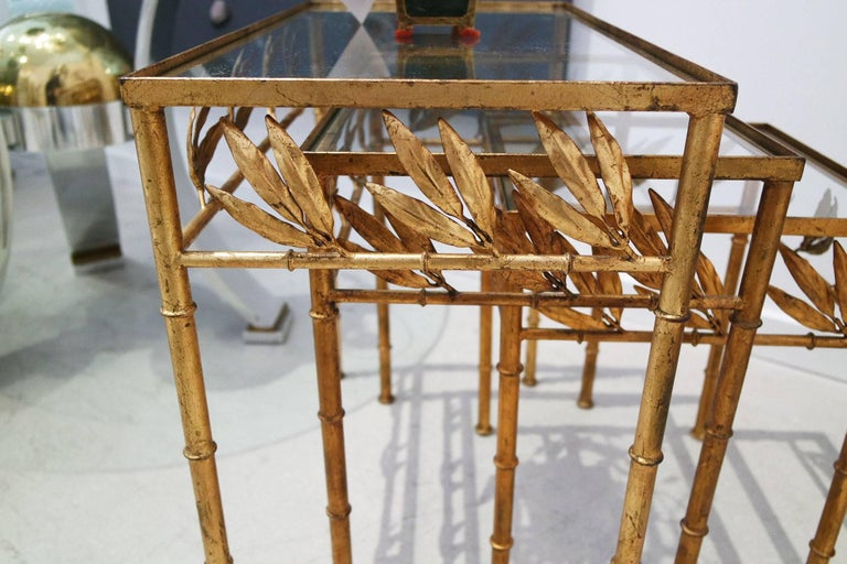 Metal Set of Three Gilt Bamboo Italian Nesting Tables For Sale