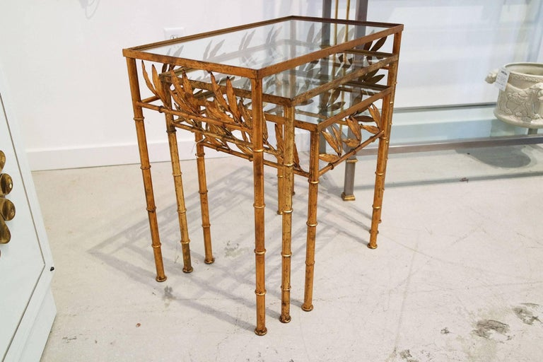 Hollywood Regency Set of Three Gilt Bamboo Italian Nesting Tables For Sale