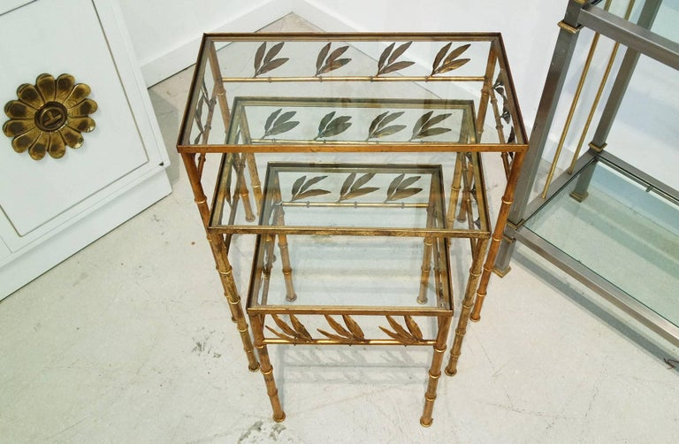 20th Century Set of Three Gilt Bamboo Italian Nesting Tables For Sale