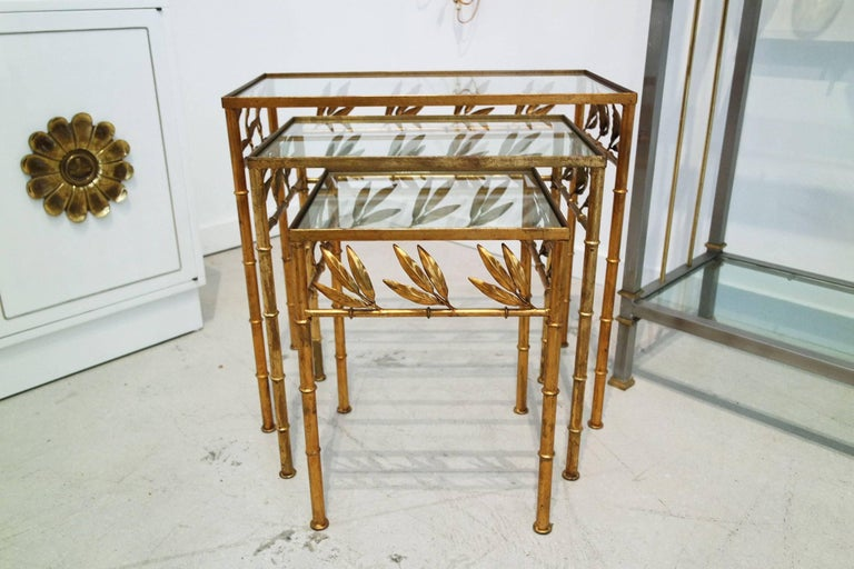 Set of Three Gilt Bamboo Italian Nesting Tables In Good Condition For Sale In West Palm Beach, FL