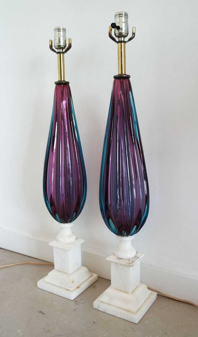 Pair of Purple and Teal Murano Glass Lamps on White Marble Bases 2