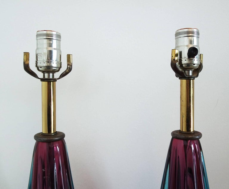 Pair of Purple and Teal Murano Glass Lamps on White Marble Bases 3