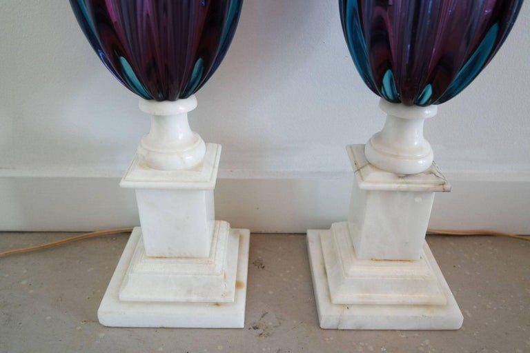 Pair of Purple and Teal Murano Glass Lamps on White Marble Bases 5