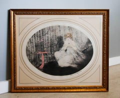 Louis Icart Aquatint Engraving 1920's- Woman with Pink Bird Cage