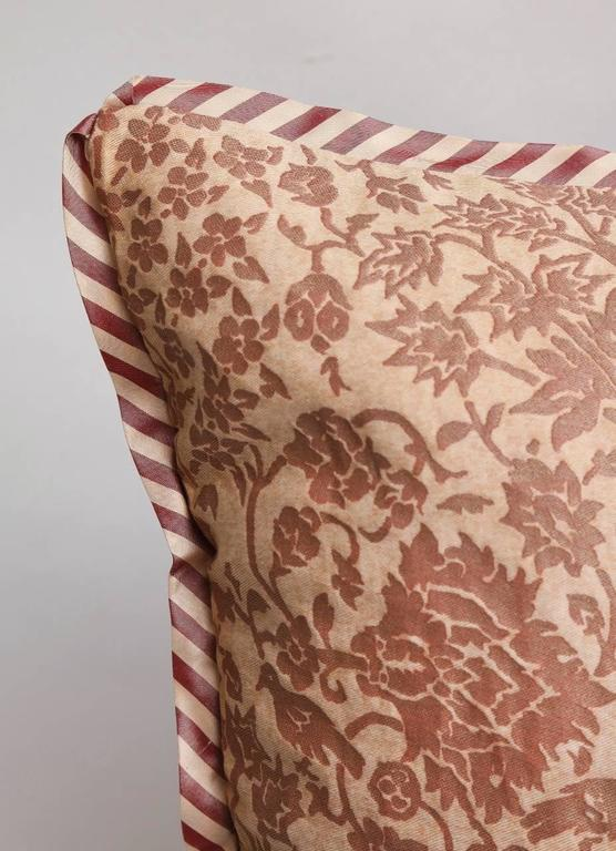 Pair of fortuny fabric cushions in alberelli pattern for for Patterned material for sale