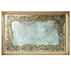French Reverse Glass Decorated Mirror