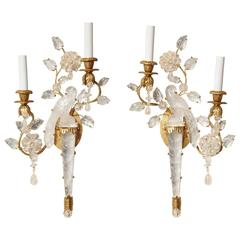 Pair of Bagues Style Two-Light Rock Crystal Sconces
